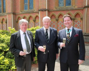 Worshipful Master Alex Stuart-Bamford with his father, Eric-Stuart Bamford Provincial Grand Master of Surrey and the MW Pro Grand Master Peter Geoffrey Lowndes